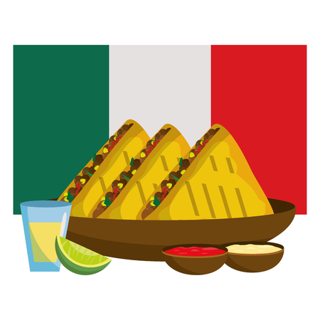 delicious mexican food in front mexican flag cartoon vector illustration graphic design