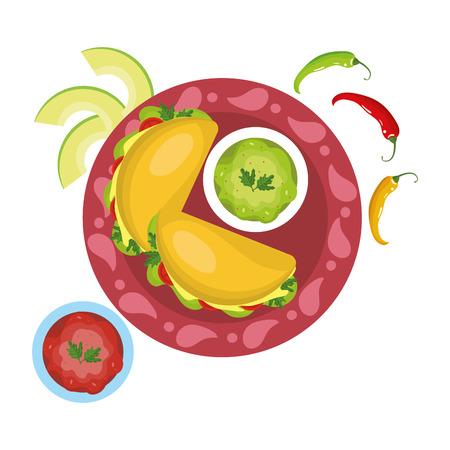 delicious mexican food cartoon vector illustration graphic design Banque d'images - 112631013