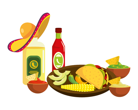 delicious mexican food cartoon vector illustration graphic design Banque d'images - 112630296
