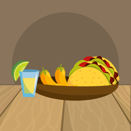 delicious mexican food cartoon vector illustration graphic design