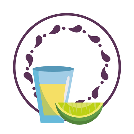 mexican food tequila shot and lemon over round label emblem