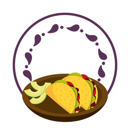 mexican food tacos and avocado on dish over round label emblem Illustration