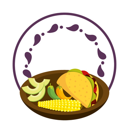 mexican food taco and corn with avocado on dish over round label emblem