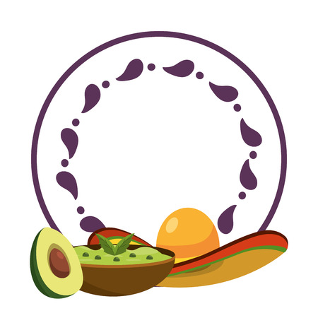 mexican food guacamole and hat with avocado over round label emblem