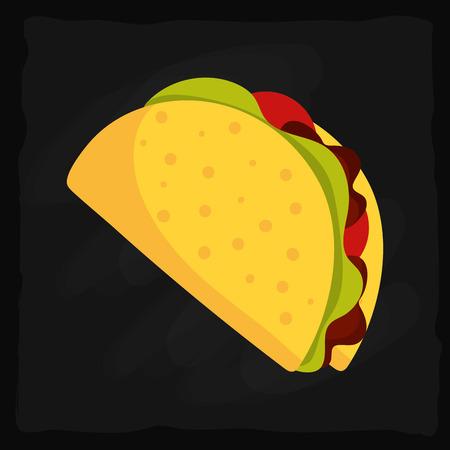 mexican food delicious nacho over black background Illusztráció