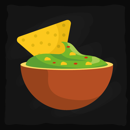 mexican food guacamole with nacho in bowl over black background