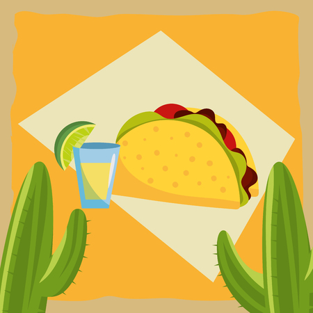 mexican food burrito and tequila shot over grunge and colorful background with cactus Illustration