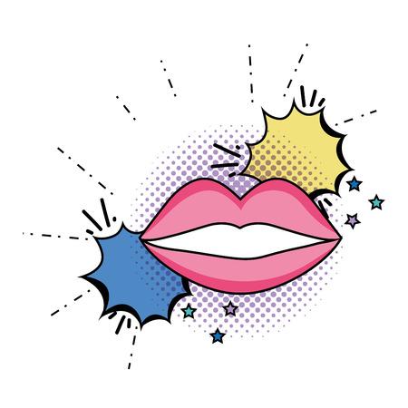 woman mouth pop art style vector illustration design Ilustrace