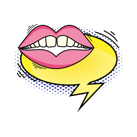 woman mouth with speech bubble pop art style vector illustration design