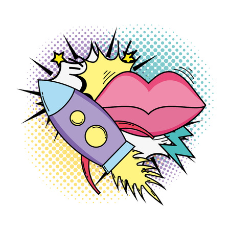 rocket flying with mouth female pop art style vector illustration design