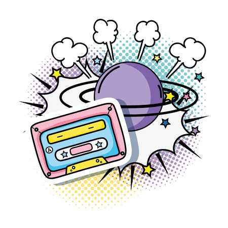 cassette with planet pop art style vector illustration design