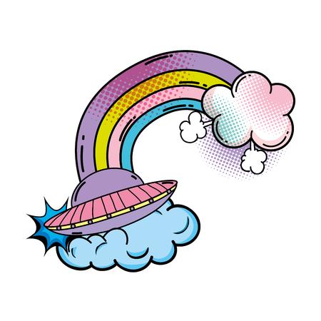 ufo flying with rainbow pop art style vector illustration design Illustration