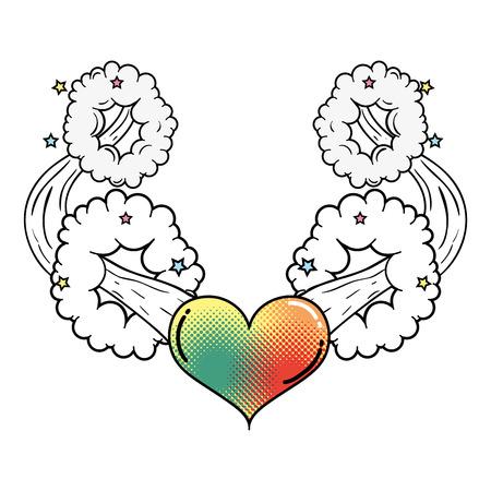 heart pop art style vector illustration design Çizim