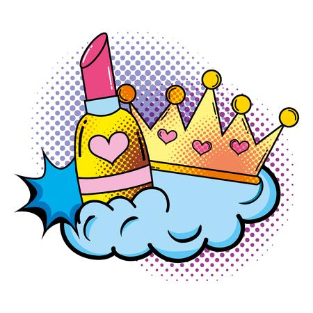 lipstick with crown pop art style vector illustration design