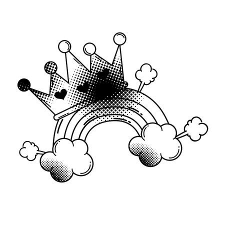 rainbow with crown pop art style vector illustration design
