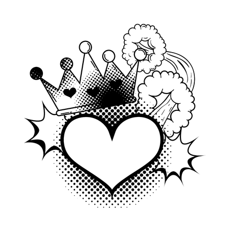 heart with crown pop art style vector illustration design