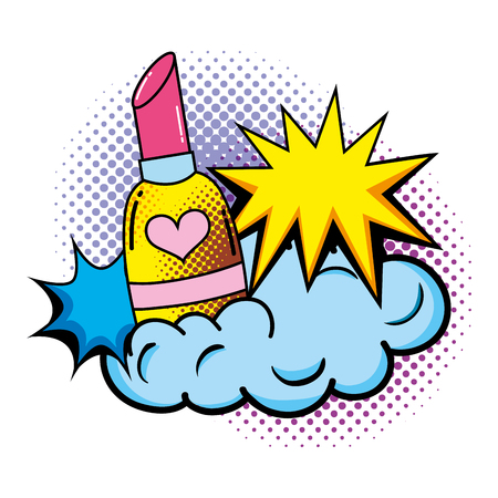 lipstick pop art style vector illustration design