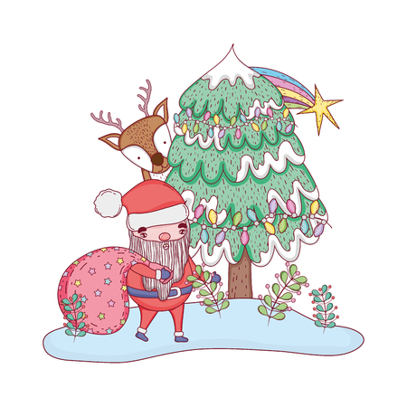 cute christmas santa claus with bag and deer vector illustration design