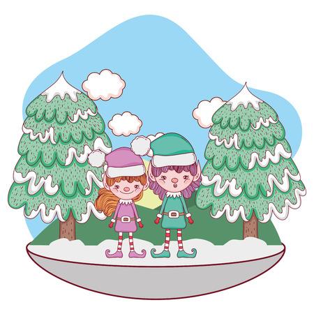 cute santa helpers couple in the snowscape vector illustration design