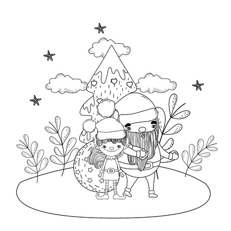santa claus with tree and helper in the snowscape vector illustration