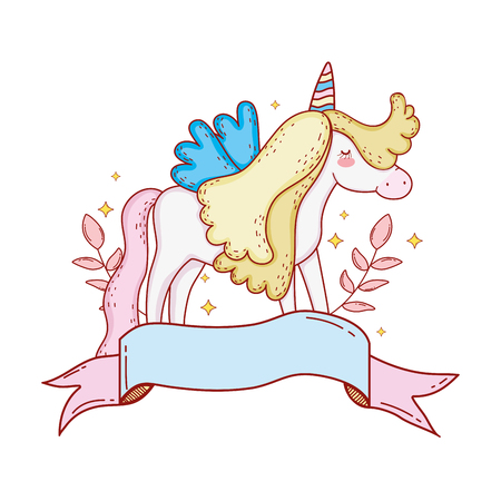 cute unicorn with ribbon and floral decoration vector illustration design