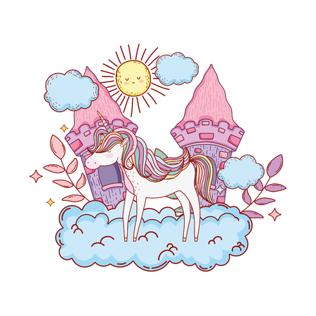 cute unicorn with clouds and castle vector illustration design