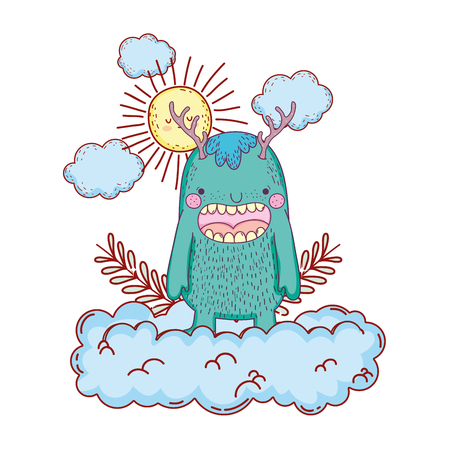 fairytale monster with clouds and sun vector illustration design