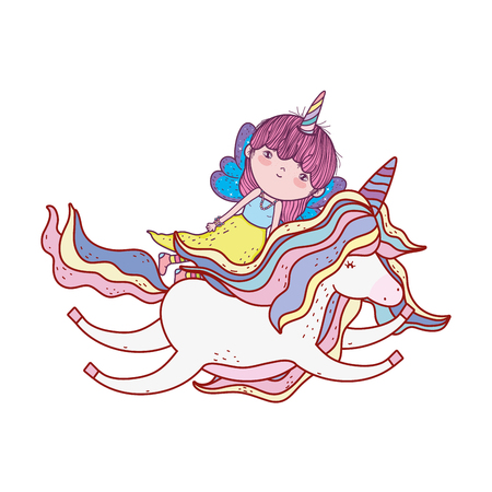 cute fairytale unicorn and fairy characters vector illustration design Illustration