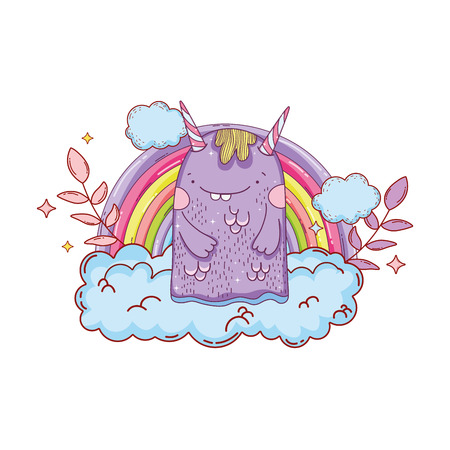 fairytale monster with clouds and rainbow vector illustration design
