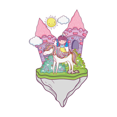 castle with unicorn and fairy in the landscape vector illustration design