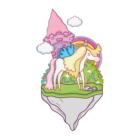 cute unicorn with castle and rainbow vector illustration design