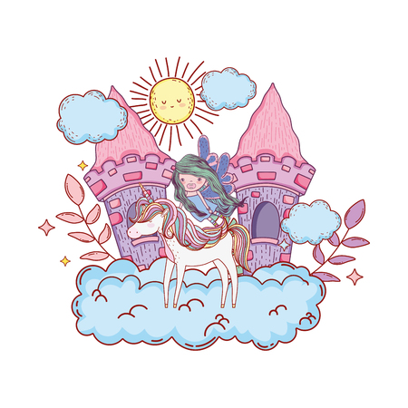 castle with unicorn and fairy in the clouds vector illustration design