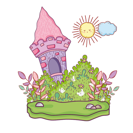 cute fairytale castle in the landscape vector illustration design