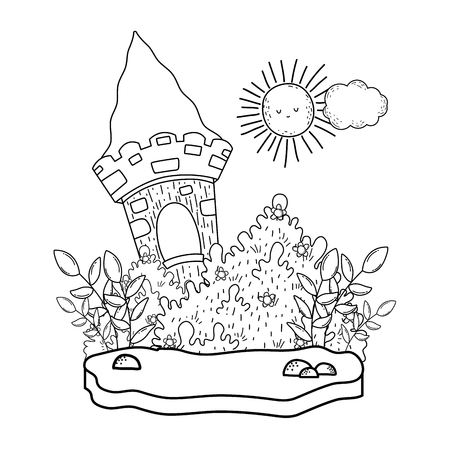 cute fairytale castle in the landscape vector illustration design
