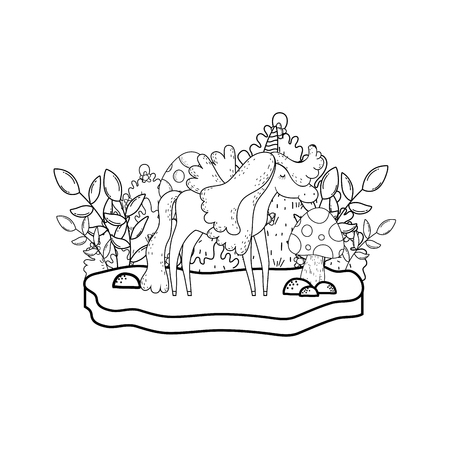 cute fairytale unicorn in the landscape vector illustration design Illustration