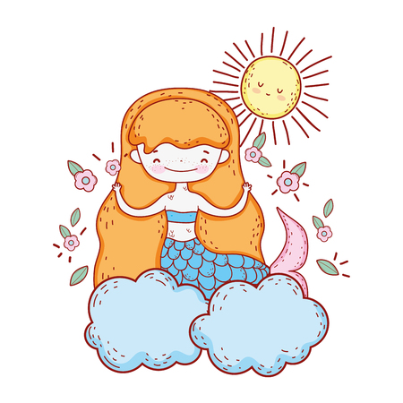 cute mermaid with flowers in the cloud vector illustration design