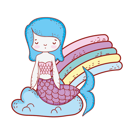 cute mermaid with clouds and rainbow vector illustration design Illustration