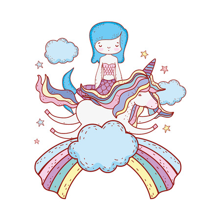 mermaid with unicorn and rainbow in clouds vector illustration design Illustration