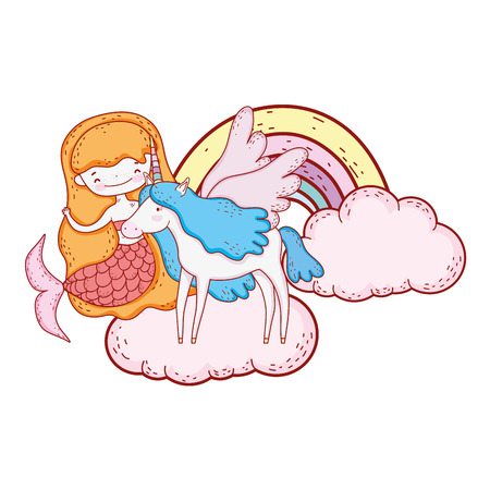 mermaid with unicorn and rainbow in clouds vector illustration design Stock Illustratie