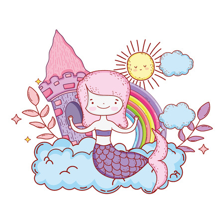 mermaid with castle and rainbow vector illustration design