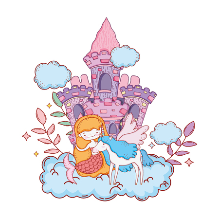 mermaid with unicorn and castle in cloud vector illustration design