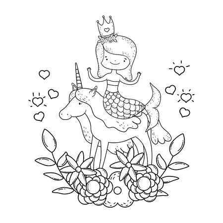cute mermaid with unicorn and floral decoration vector illustration 向量圖像