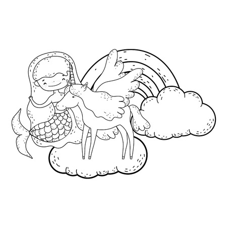 mermaid with unicorn and rainbow in clouds vector illustration design 向量圖像