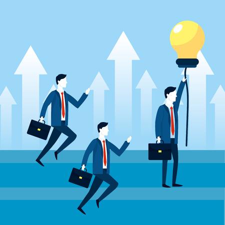 professional businessmen teamwork with bulb idea vector illustration