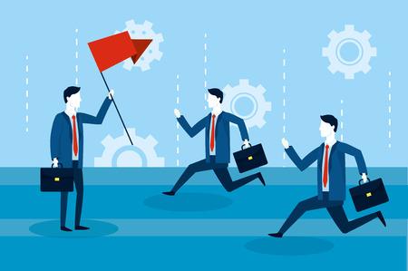 professional businessmen teamwork with red flag vector illustration