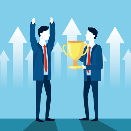 professional businessman teamwork with cup strategy vector illustration Illustration