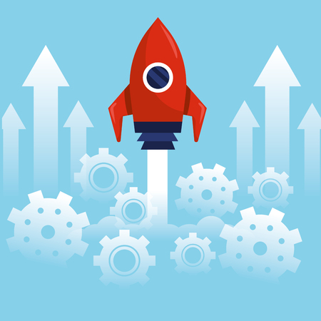 business strategy job with rocket technology vector illuustration