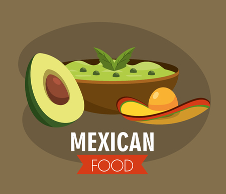 mexican avocado sauce with traditional hat vector illustration