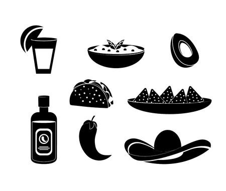set mexican food with spicy sauce and tequila vector illustration Illustration