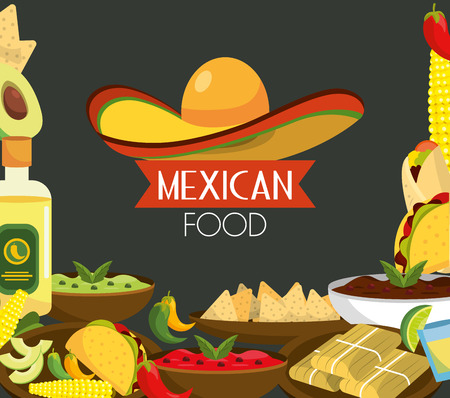 mexican food with tequila and traditional sauces vector illustration